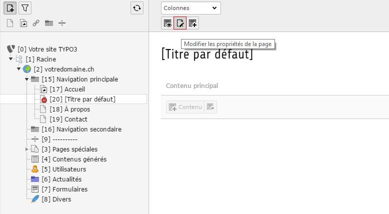 Modifier les propriétés de la page